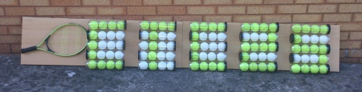 #CTC25 art piece, using recycled tennis balls, tubes and racket