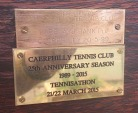 CTC25 Tennis-thon - bench plaque marking the celebrations, placed below plaque from the original launch!