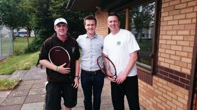 BBC Wales Today visits CTC. (Left to right) CTC Head Coach Jonathan Morgan, BBC Wales Today presenter Tomos Dafydd, Tennis Connect Wales founder Steve Milne.