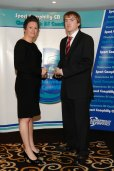 HC Jon receives his award from Kelly Davies, CEO of Vi-Ability and former Arsenal, Liverpool and Wales Ladies footballer
