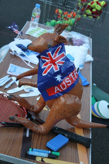 Aussie Open Benenden Tennis Festival - newly named Jim the Kangaroo with the prizes that were up for grabs