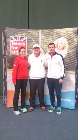 TennisForKids 2017 - CTC Head Coach Jon with former WTA ranked player Naomi Cavaday and GB Davis Cup captain Leon Smith at TFK training in Cardiff